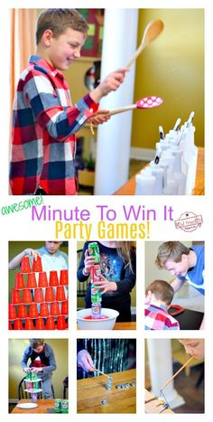 and Easy Minute To Win It Party Games to Play with the Family Try these Minute to Win it Party Games that are perfect for all ages! Kid Friendly and Challenging enough for teens and adults. Minute to Win It games are the perfect game to play for eve Funny Party Games, Easy Party Games, Diy Games, Party Games For Kids, Indoor Party Games, Birthday Party For Teens, Birthday Party Games, Sleepover Party, 17th Birthday