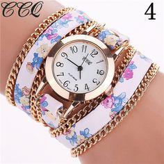CCQ Flower Leather Bracelet Watches Fashion Women Dress Watches Quartz Watch Relojes Mujer Relogio Feminino Clock 2015 1692