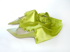 Lime green satin french knickers, a pretty sexy plus size S-XXL panty, panties, lingerie, undies, beach wear, spring summer fashion trend. €33.00, via Etsy.