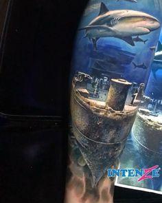 Sunken ship and sharks @dylanwebertattoos is doing a stellar work on this leg sleeve using Intenze Tattoo Ink. More to come! . Find All Intenze Colors --> shop.intenzetattooink.com . Barco hundido y tiburones @dylanwebertattoos está haciendo un trabajo estelar en esta manga de pierna utilizando la Tinta de Tatuaje Intenze. . . #tattoo #tattoos #inked #intenzeartist #intenzeproducts #intenzeink #tattooink #tattooartist #inkedmag #tattoosociety #tattooed #colortattoo #tatuaje #ink #inkedup…