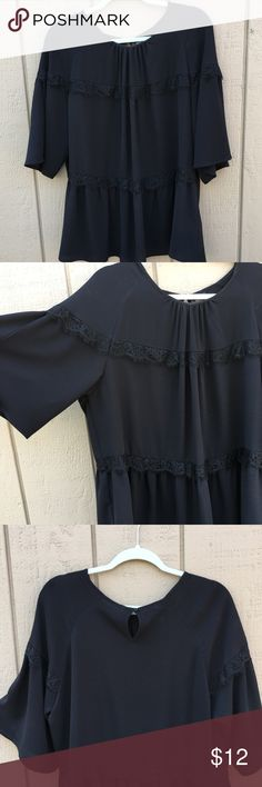 """[Mossimo] Black Lace Blouse Stunning black lace detailing! Super comfortable fabric. (""""NWT"""" but tag is taped on) Mossimo Supply Co. Tops Blouses"""