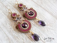 This item is unavailable Tassel Earrings, Beaded Earrings, Handmade Necklaces, Handmade Jewelry, Boho Jewelry, Unique Jewelry, Soutache Necklace, Pink Amethyst, Polymer Clay Charms