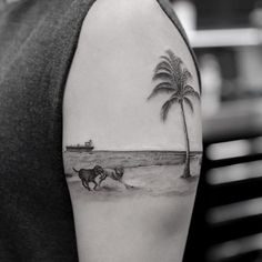 Blackwork palm on beach by Turan