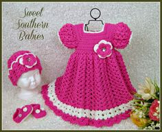 Baby Girl's Spring and Summer Dress - Hat - Mary Jane Shoes - Newborn to 12 Months