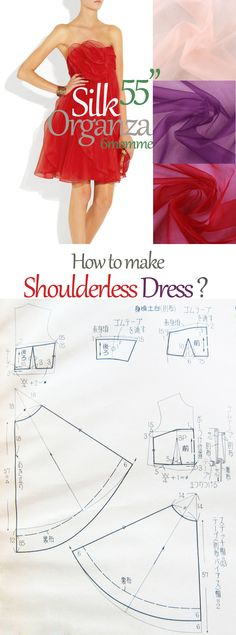 Free shoulder-less dress pattern. how to make your prom dress? how to make shoulderless dress?