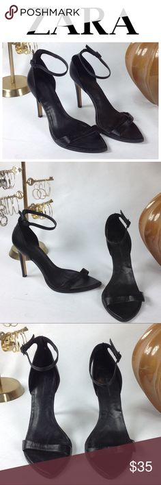 Zara Black Leather Stilettos Black leather stiletto sandals with ankle strap in good condition. The shoes are stylish addition to your summer wardrobe. Some dings on the heels but difficult to see. Thanks for your interest, please take a look at the rest of my closet. Zara Shoes Sandals
