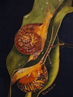 My silk painting. Two snails on a leaf