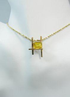 Citrine PENDANT, 14K Gold Necklace, Citrine Necklace, Yellow Gemstone Pendant, November Birthstone Pendant, Handcrafted in USA PEN14KCITRLAD