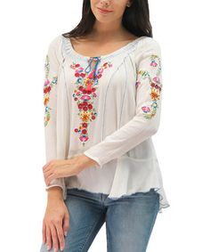 Ivory Embroidered Myla Top