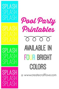 FREE Pool Party Printables available in 4 different bright colors at createcraftlove.com!