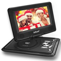 """[Improved Battery] ieGeek 12.5"""" Portable DVD Player with Swivel Screen, 5 Hour Rechargeable Battery, Supports SD Card and USB, Direct Play in Formats MP4/AVI/RMVB/MP3/JPEG, Black"""
