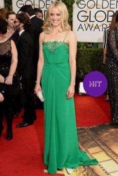 Taylor Schilling looked like an emerald goddess in this Thakoon floor-length gown - Golden Globe 2014 red carpet #goldenglobe #award #winner #redcarpet