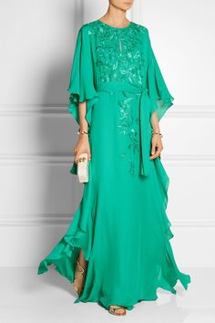 -Jade silk-crepe -Concealed hook-fastening keyhole at front silk -Dry clean Modest Fashion, Hijab Fashion, Fashion Dresses, Evening Dresses, Formal Dresses, Embroidered Silk, Silk Crepe, African Fashion, Dress Skirt