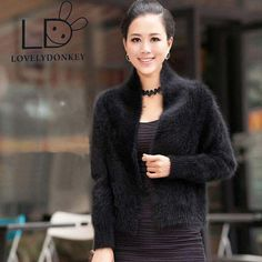 The woman s real mink cashmere sweater cardigan short sweater coat collar solid colored shawl free. Click visit to buy #WomenCardigan