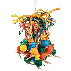 Cheeky Chimp Wood /& Rope Parrot Toy