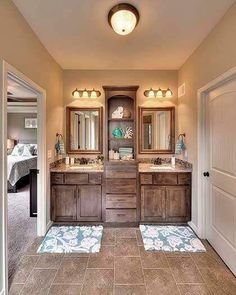 I love the inset shelving between the mirrors for our master bathroom.