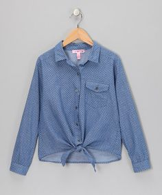 Take a look at this Blue Chambray Polka Dot Tie Top by Sugar Tart on #zulily today!