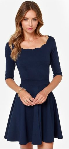 Lulus Exclusive! The Tip the Scallops Navy Blue Dress never fails to tip the scales in your favor! A fitted bodice comes with half sleeves and a unique and feminine scalloped bateau neckline that's packed with allure. Thick and super stretchy knit twirls from a banded waist into a flirty full skirt. #lovelulus