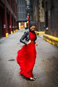 Gorgeous apple red maxi skirt complemented with a leather jacket