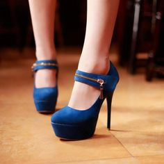 Gorgeous Blue Suede Round Closed Toe Stiletto Super High Fashion Mary Jane Pumps