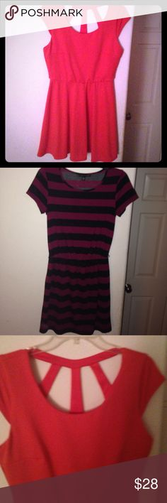Salmon and striped dress bundle The first dress is a Salmon dress with an open back. The second dress is a black and maroon colored dress that's striped. The salmon is size Large. The striped is size Medium. Iz Byer and City Triangles Dresses Midi