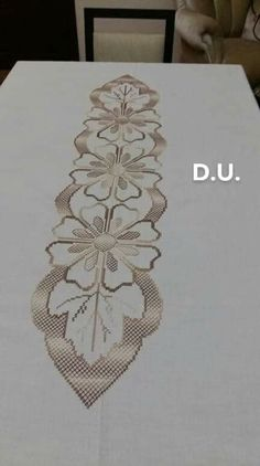 Discover thousands of images about PDF Hardanger Embroidery White Table Runner Zardozi Embroidery, Hardanger Embroidery, Cross Stitch Embroidery, Embroidery Patterns, Hand Embroidery, Stitch Patterns, Crochet Patterns, Cross Stitch Borders, Cross Stitch Rose