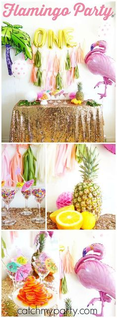cool is this tropical birthday party with flamingos and palm trees! See more party ideas at ! Pink Flamingo Party, Flamingo Birthday, Luau Birthday, Adult Birthday Party, Pink Flamingos, First Birthday Parties, First Birthdays, Birthday Recipes, Teen Birthday