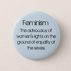 Feminism in Baby Blue Pinback Button - accessories accessory gift idea stylish unique custom