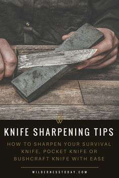 Learn how to sharpen a knife the right way with our knife sharpening how-to guide & tips. #HowToDo #KnifeSharpening #Knives #Knife #Sharpen #Whetstone Survival Knife, Survival Tips, Survival Skills, Survival Stuff, Camping Survival, Bushcraft Camping, Survival Weapons, Tactical Survival, Urban Survival