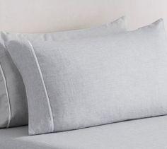 Belgian Flax Linen Contrast Flange Sheet Set - Smoke/White