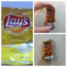 A chip bag in the microwave for 7 seconds. They shrink and harden to make  really cool keychains or whatever. d6417a95063b