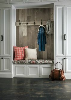 Wood Feature Accent Wall Ideas Using Flooring. Farmhouse Planked Mud Room