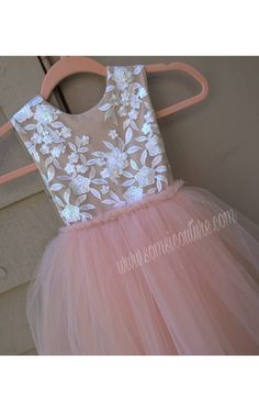 Blush Tulle Skirt, Blush Flower Girl Dresses, Blush Flowers, Tea Length, Color Combinations, Bodice, Ivory, Couture, Elegant