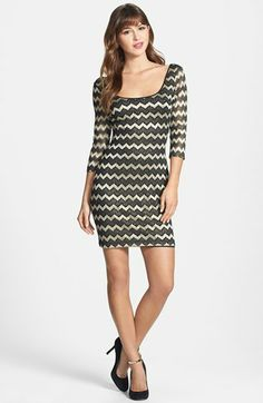 GUESS Metallic Stripe Lace Sheath Dress available at #Nordstrom