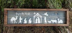 Joy To The World Nativity frame wood sign