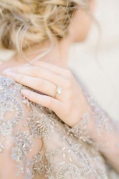 Wedding Rings Beautiful beading on this fine art wedding dress—and that ring is to die for! - Mission San Juan Capistrano has never looked so enchanting as it does with a bride in a silvery, beaded Gossamer gown. Wedding Ring Styles, Diamond Wedding Rings, Wedding Bands, Wedding Advice, Wedding Venues, Wedding Ring Pictures, Solitaire Rings, Wedding Programs, Wedding Ceremony