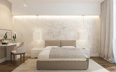 Интерьер светлой спальни, кровать с подиумом в спальне