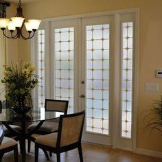 """Simple Window Film Monterey Sun Stained Glass French doors looking a little lackluster lately? The diamond-accented grid pattern of the Monterey Sun Stained Glass Privacy window film will bring some class to your glass. The design works well with traditional, modern, country, and urban decor alike. Prices range from $20.95 (8""""x86"""") to $95.95 (48""""x96"""")."""