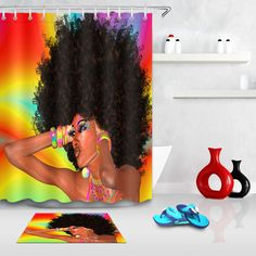 $3.34 - Bathroom Shower Curtain Waterpoof Abstract African Beauty Woman Afro Hairstyle #ebay #Home & Garden Shower Curtain Sizes, Bathroom Shower Curtains, Bathroom Mat, Bathroom Ideas, Afro Shower Curtain, Bathroom Things, Bathroom Stuff, Bathroom Inspo, Simple Bathroom
