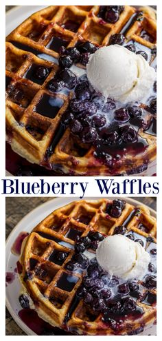 Homemade Greek Yogurt Blueberry Waffles topped with Fresh Blueberry Sauce. ♥♥♥ Blueberry Waffles Recipe Hey hey and Happy weekend! Mexican Breakfast Recipes, Savory Breakfast, Healthy Dessert Recipes, Breakfast Sandwiches, Breakfast Pizza, Breakfast Bowls, Meal Recipes, Breakfast Time, Breakfast Ideas