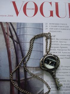 Antique Pocket Watch Necklace Key Bronze by Azuraccessories, $5.99 that woulda been a cute valentines day present