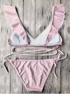 Striped Ruffles Strap Wrap String Bikini Set - PINK S