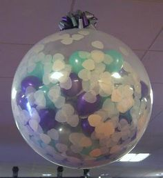 Fill a balloon with confetti and hang from ceiling. Pop it at midnight. Great New Year's Eve Idea.