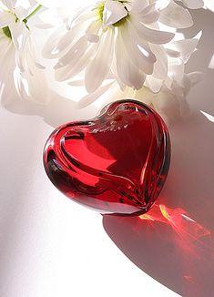 glass heart -- paperweight