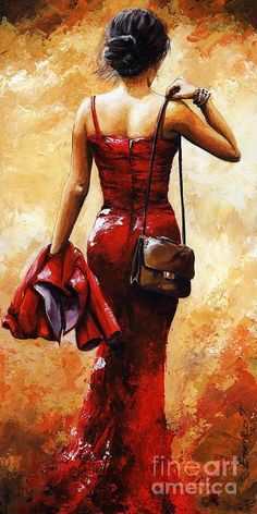 Lady In Red Painting  -  By Emerico ImreToth
