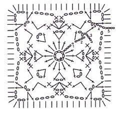 Схема квадратного мотива крючком 3