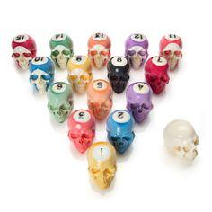 Handmade Billiard Ball Skull Set made by Lee Downey and more skull inspirations and designs at skullspiration.com