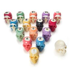 Handmade Billiard Ball Skull Set made by Lee Downey and more skull inspirations and designs at skullspiration.com