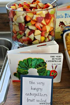 Birthday Book Themed Food The Very Hungry Caterpillar's Fruit Salad - Joyfully ThrivingThe Very Hungry Caterpillar's Fruit Salad - Joyfully Thriving Book Birthday Parties, Birthday Book, Baby First Birthday, Birthday Ideas, Birthday Banners, Birthday Invitations, Book Themed Parties, Neon Birthday, Fruit Birthday