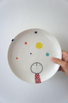 Hand Painted Plate – ceramic – porcelain – pottery di vanessabeanshop su Etsy